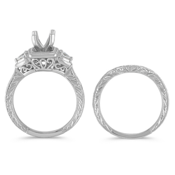 Three-Stone Vintage Pear- Shaped Diamond Wedding Set