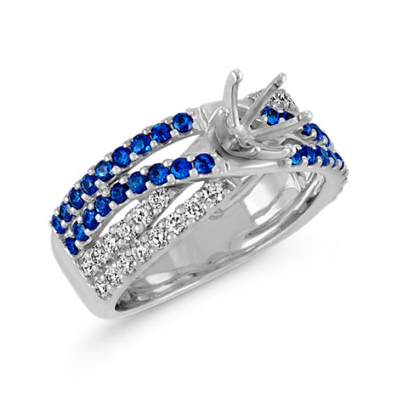 Traditional Sapphire and Round Diamond Crossover Engagement Ring