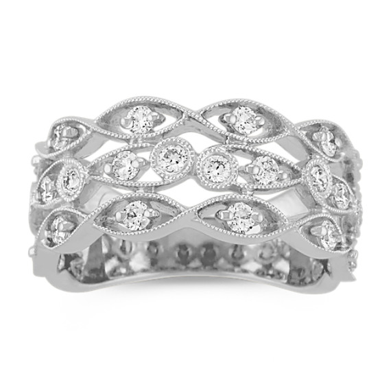 Trellis Diamond Ring in 14k White Gold