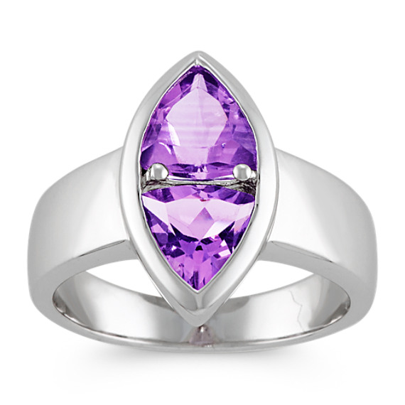 Trillion Amethyst Ring in Sterling Silver