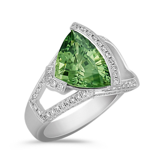 Trillion Green Sapphire and Round Diamond Ring