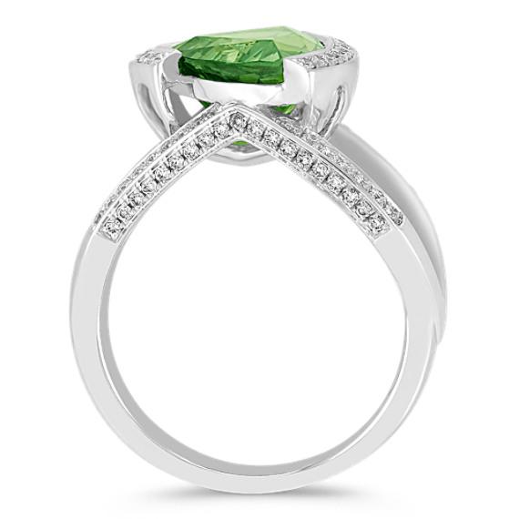 Trillion Green Sapphire and Round Diamond Ring