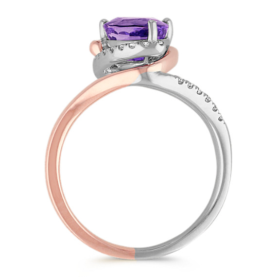 Trillion Lavender Sapphire and Diamond Ring in Two-Tone Gold