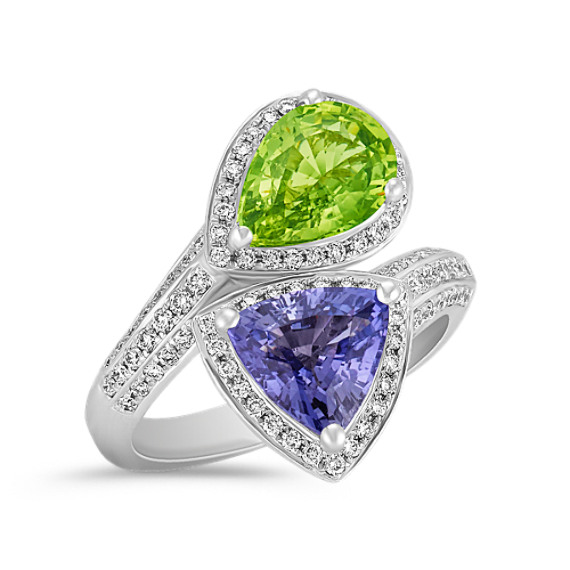 Trillion Lavender Sapphire and Pear Shaped Green Sapphire Ring