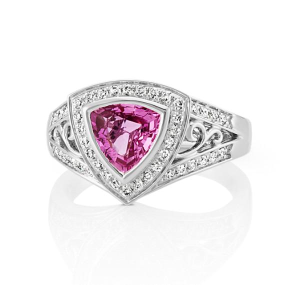 Trillion Pink Sapphire and Round Diamond Ring