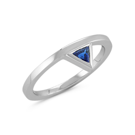Trillion Sapphire Geometric Ring in Sterling Silver