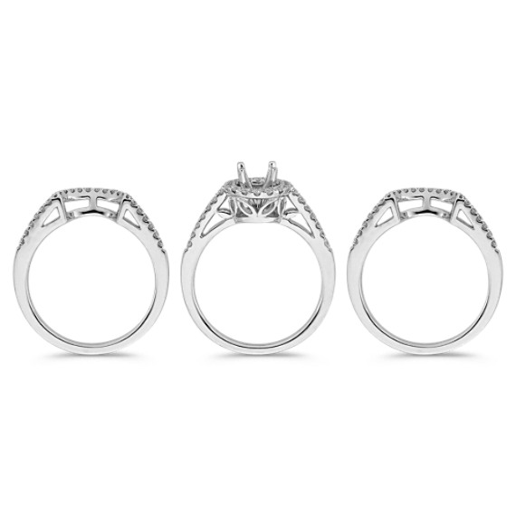 Triple Band Halo Diamond Wedding Set with Pavé Setting