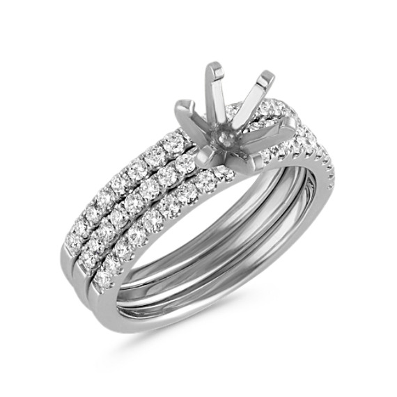 Triple Band Round Diamond Wedding Set