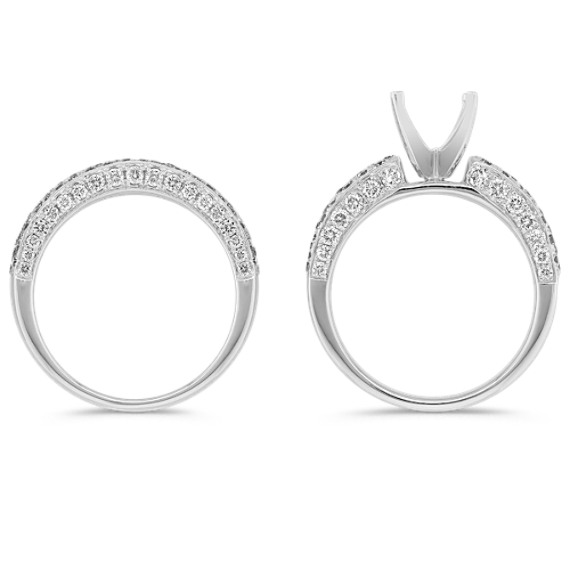Triple Row and Triple Sided Round Diamond Wedding Set