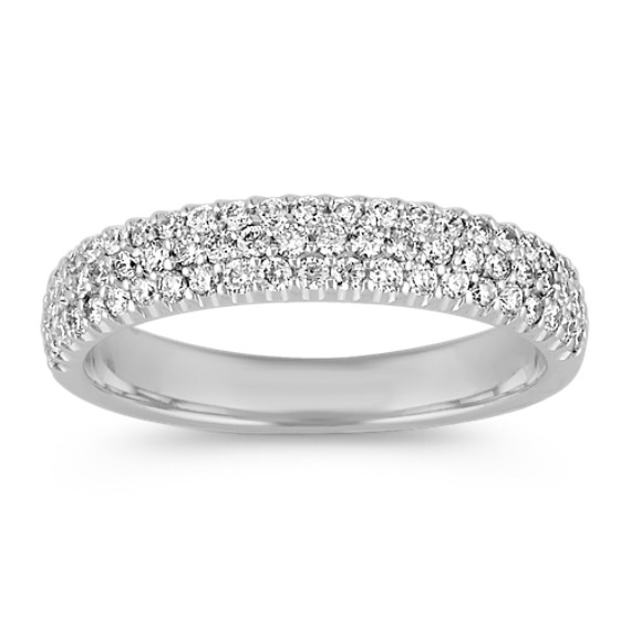 Triple Row Diamond Wedding Band with Pavé Setting