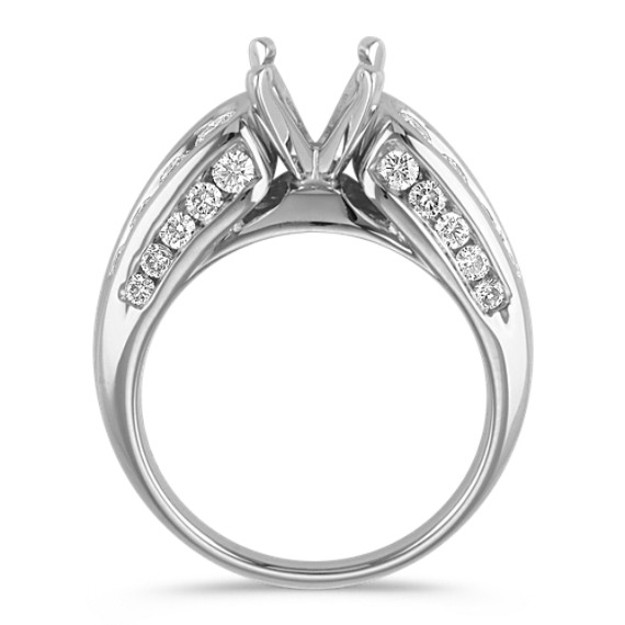 Triple Side Channel Set Round Diamond Engagement Ring