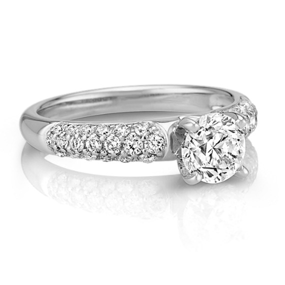 Triple Sided Round Diamond Engagement Ring