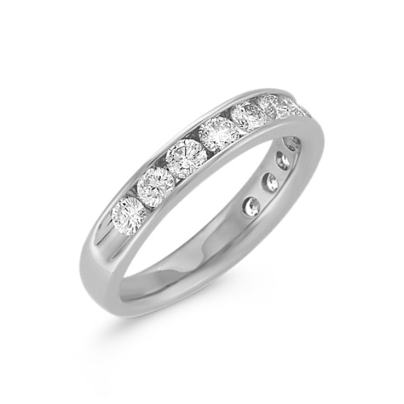 Twelve-Stone Round Diamond Channel-Set Wedding Band in 14k White Gold