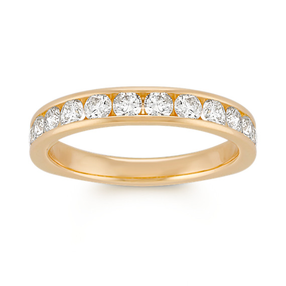 Twelve Stone Round Diamond Wedding Band in Yellow Gold with Channel-Setting