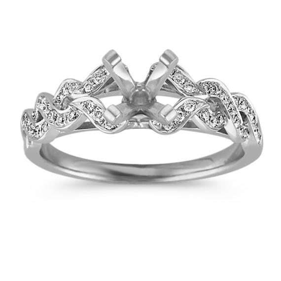 Twist Diamond Ring with Pavé Setting