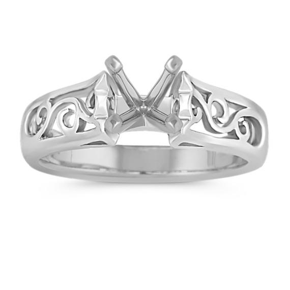 Vine Filigree Solitaire 14k White Gold Engagement Ring