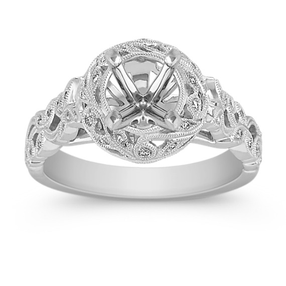 Vine Wrapped Vintage Halo Diamond Engagement Ring