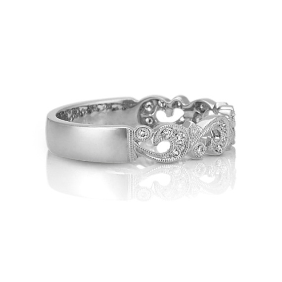 Vined Vintage Diamond Platinum Wedding Band with Pavé-Setting