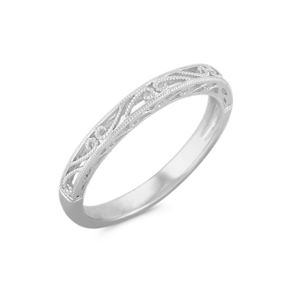Vintage 14k White Gold Wedding Band