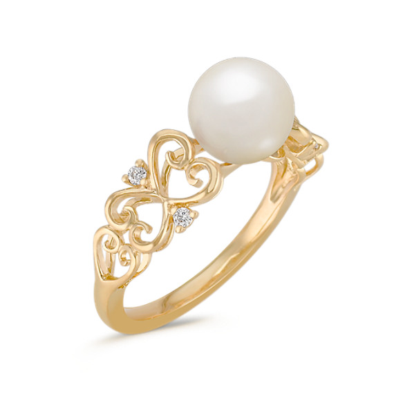 Vintage 7.5mm Cultured Akoya Pearl and Diamond Ring