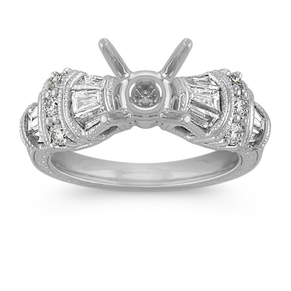 Vintage Baguette and Round Diamond Engagement Ring in Platinum