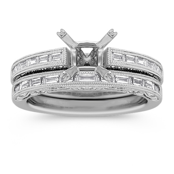 Vintage Baguette and Round Diamond Platinum Engagement Ring