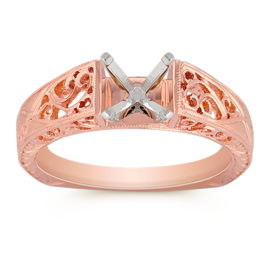 Vintage Cathedral 14k Rose Gold Solitaire Fashion Ring