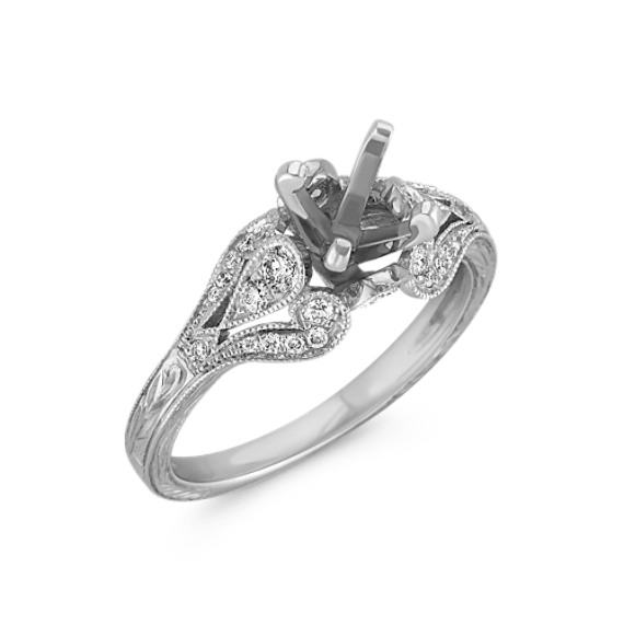 Vintage Cathedral Diamond Engagement Ring with Milgrain and Side Engraving