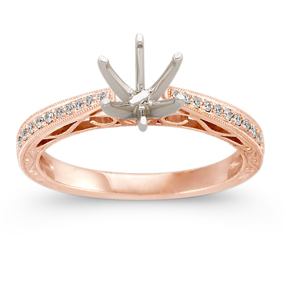 Vintage Cathedral Diamond Engagement Ring with Milgrain Detailing in Rose Gol