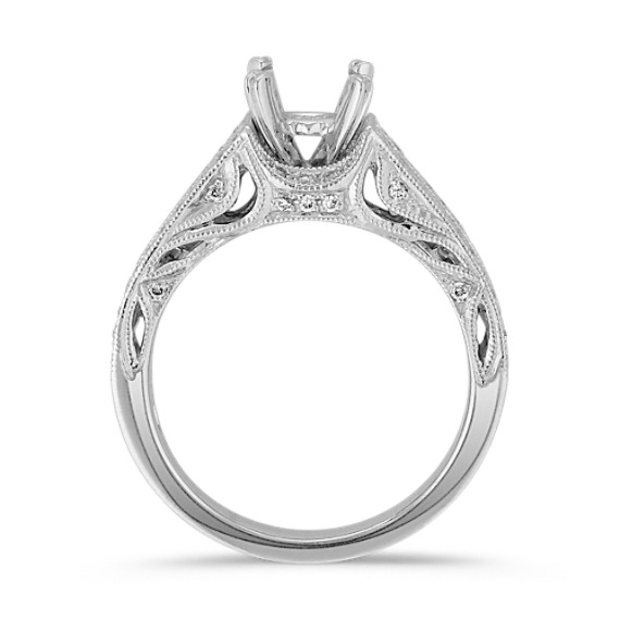 Vintage Cathedral Diamond Engagement Ring with Pavé- and Channel Setting