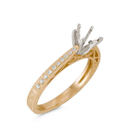 Vintage Cathedral Diamond Engagement Ring with Pavé Setting in 14k Yellow Gold