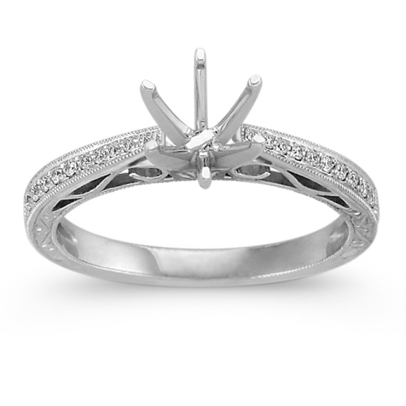 Vintage Cathedral Diamond Platinum Engagement Ring with Pavé-Setting