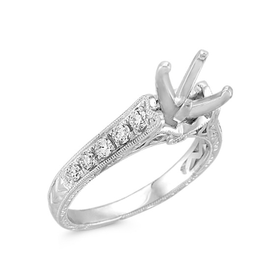 Vintage Cathedral Diamond Platinum Engagement Ring with Pavé Setting