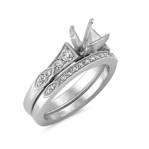 Vintage Cathedral Diamond Wedding Set in Platinum