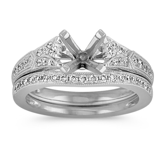 Vintage Cathedral Diamond Wedding Set with Pavé-Setting