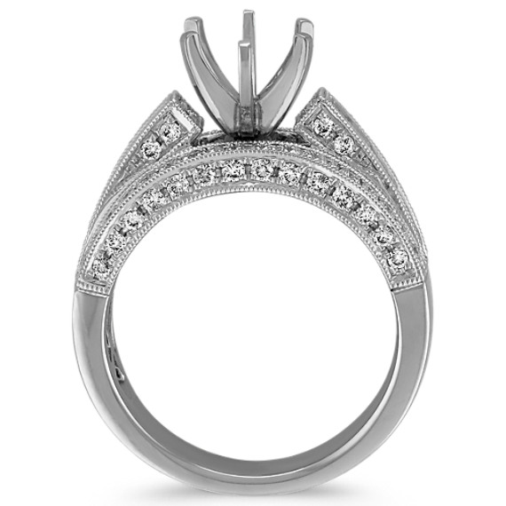 Vintage Cathedral Engagement Ring with Flanking Rows of Pavé Set Diamonds