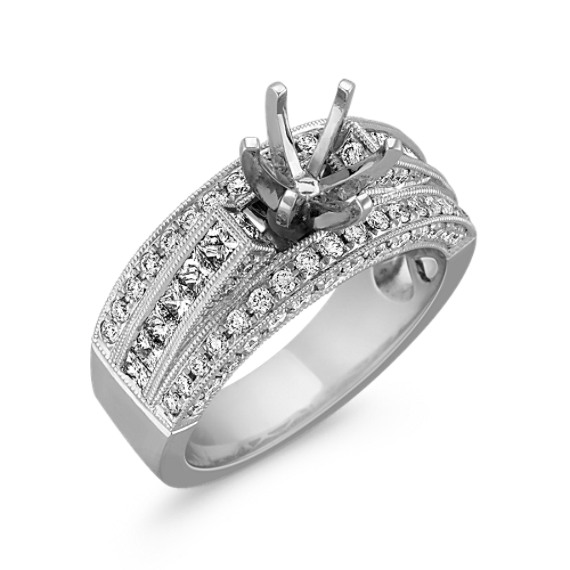 Vintage Cathedral Engagement Ring with Pavé-Set Diamonds