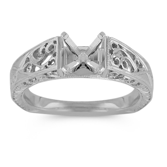 Vintage Cathedral Solitaire 14k White Gold Fashion Ring