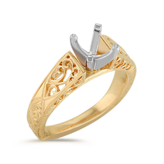 Vintage Cathedral Solitaire 14k Yellow Gold Fashion Ring