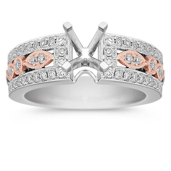 Vintage Diamond 14k White and Rose Gold Engagement Ring with Pavé Setting