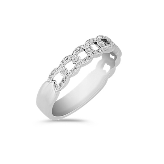 Vintage Diamond Anniversary Band with Pavé Setting