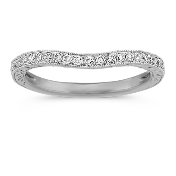 Vintage Diamond Contour Wedding Band in Platinum