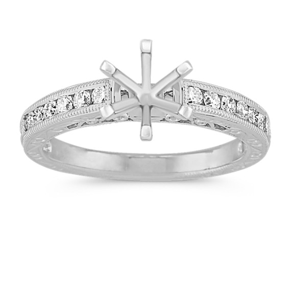 Vintage Diamond Engagement Ring with Channel-Setting