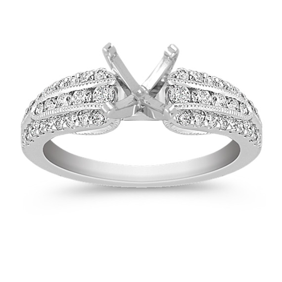Vintage Diamond Engagement Ring with Pavé and Channel-Setting