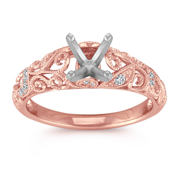 Vintage Diamond Engagement Ring with Pavé Setting in Rose Gold at Shane Co