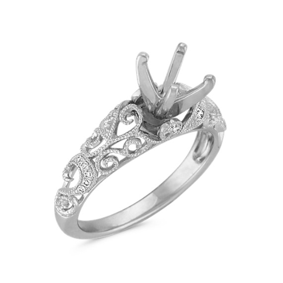 Vintage Diamond Engagement Ring with Pavé Setting in White Gold