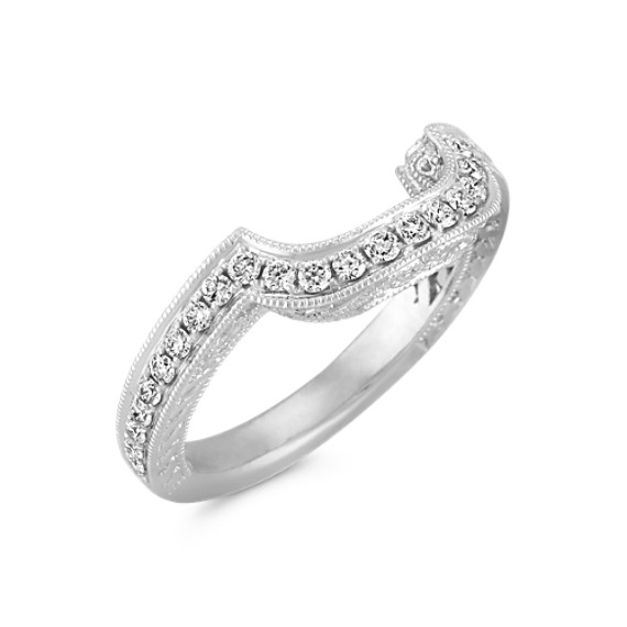 Vintage Diamond Platinum Contour Wedding Band with Pavé Setting