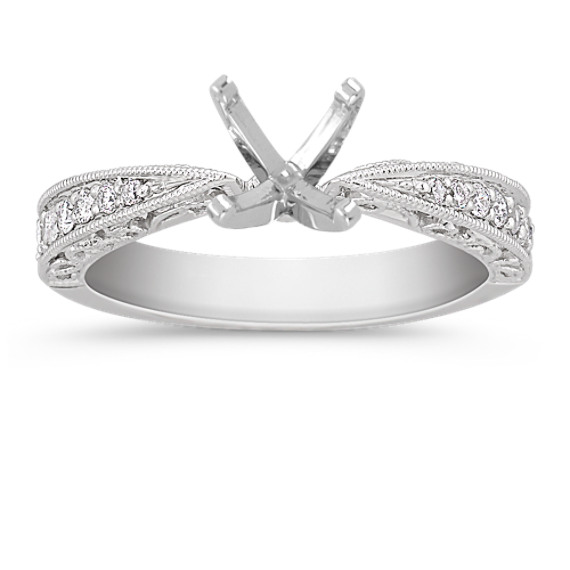 Vintage Diamond Platinum Engagement Ring with Pavé Setting