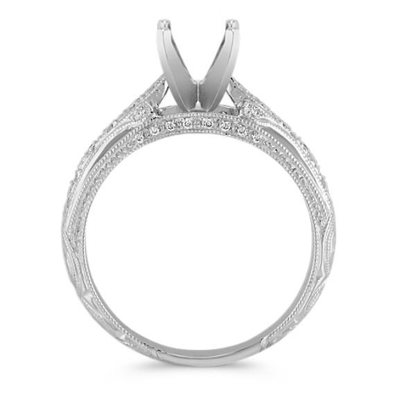 Vintage Diamond Platinum Engagement Ring with Pavé-Setting