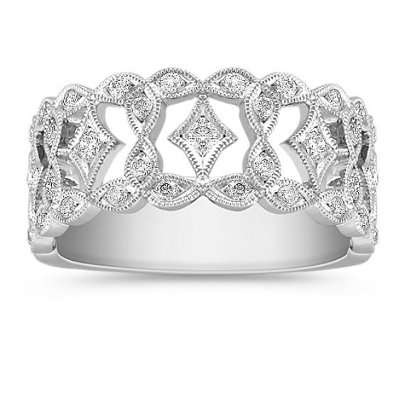 Vintage Diamond Platinum Ring with Pavé Setting